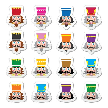 nutcracker: Christmas nutcracker - soldier figurine head icons set Stock Photo