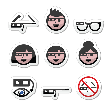 eyewear fashion: Google glass vector labels set