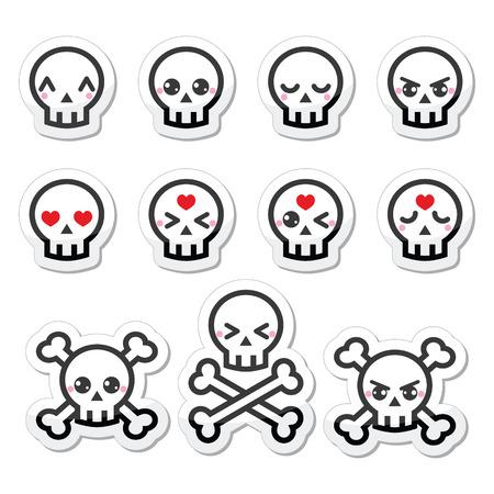 vector skull danger sign: Kawaii cute Halloween skull labels set Illustration