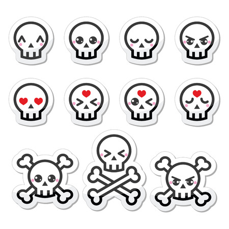 Kawaii cute Halloween skull labels set Illustration