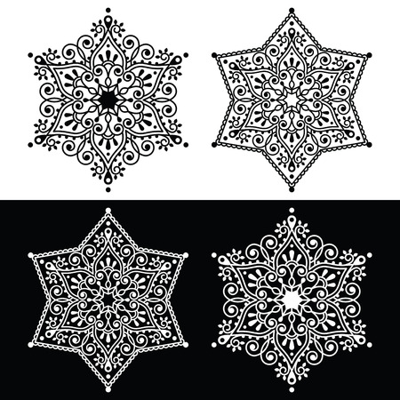 swirls vector: Christmas snowflake decoration - embroidery style