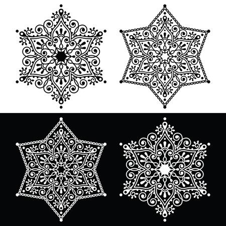 broderie: flocon de neige décoration de Noël - le style de broderie Illustration