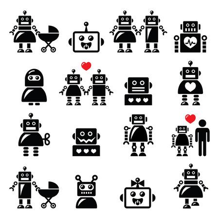 ロボット家族、女性、赤ちゃんロボットのアイコンを設定  イラスト・ベクター素材