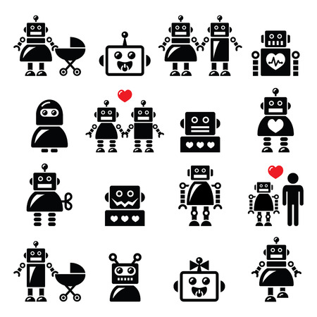Robot family, female, baby robot icons set Vettoriali