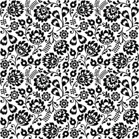 poland: Seamless Polish folk art black floral pattern - wzory lowickie, wycinanki