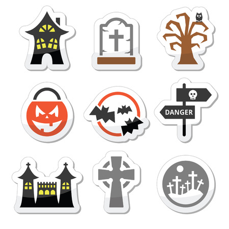 vector skull danger sign: Halloween vector icons set
