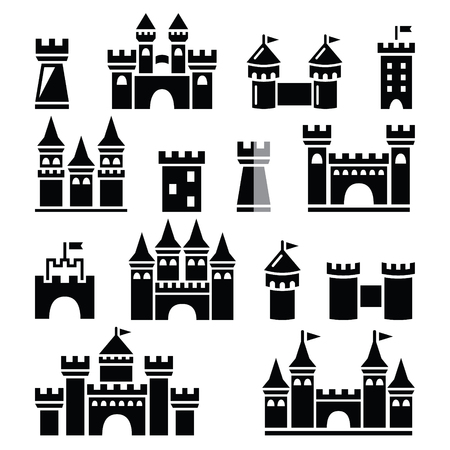 Schloss, Türme Vektor-Icons gesetzt Standard-Bild - 44692148