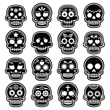 Halloween, Mexican sugar skull, Dia de los Muertos - cartoon icons Vettoriali