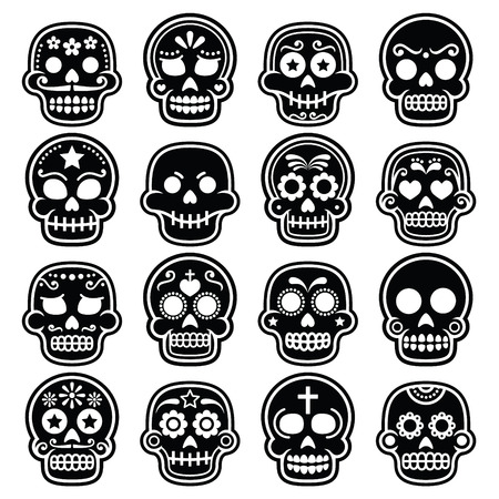 mexican culture: Halloween, Mexican sugar skull, Dia de los Muertos - cartoon icons Illustration