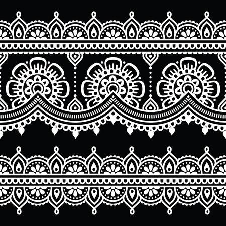 black damask: Mehndi, Indian Henna white tattoo seamless pattern Illustration