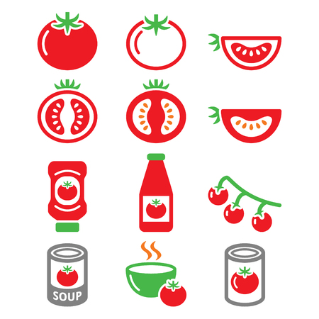 Red tomato, ketchup, tomato soup icons set Vectores