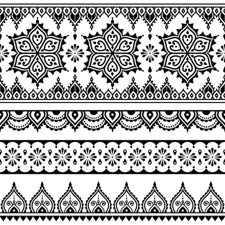 Mehndi, Indian Henna tattoo seamless pattern, design elements Vettoriali