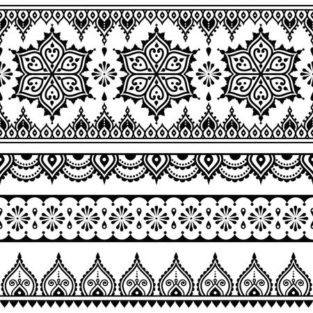 Mehndi, Indian Henna tattoo seamless pattern, design elements Vectores