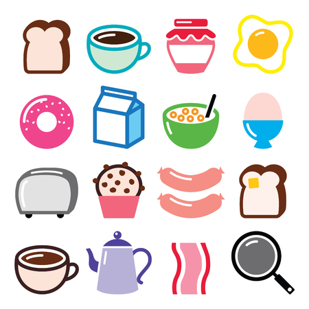 chocolate egg: Breakfast food vector icons set - toast, eggs, bacon, coffee