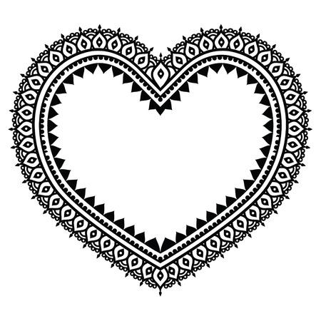 white heart: Heart Mehndi design, Indian Henna tattoo pattern