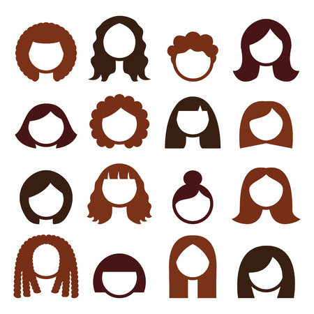 hair style collection: Brunette hair styles, wigs icons set - women Illustration