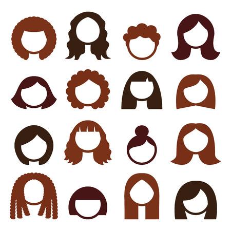 Donkerbruin haar stijlen, pruiken icons set - vrouwen Stock Illustratie