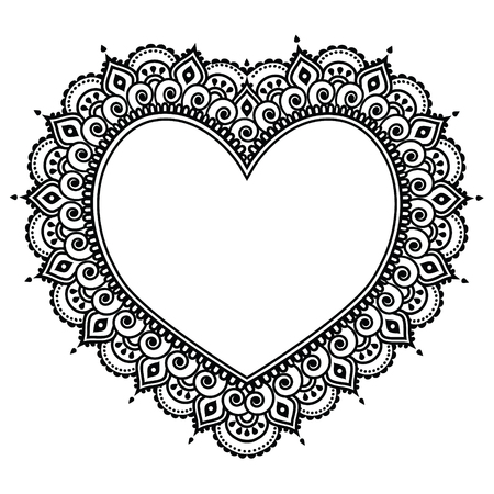 Heart Mehndi design, Indian Henna tattoo pattern - love concept Vectores