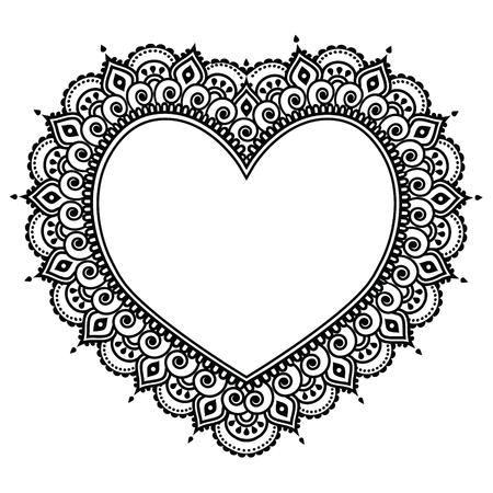 Hart Mehndi ontwerp, Indische Henna tattoo patroon - liefde concept