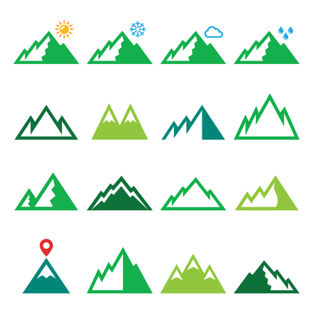 mountain peek: Mountains, nature vector green icons set Illustration