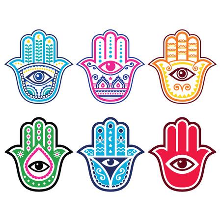 Hamsa hand, Hand of Fatima - amulet, symbol of protection from devil eye  イラスト・ベクター素材