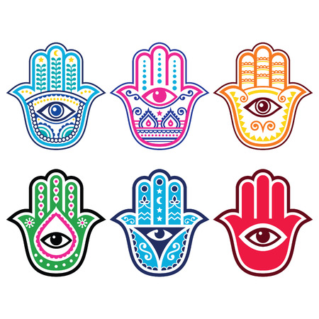 Hamsa hand, Hand of Fatima - amulet, symbol of protection from devil eye Vettoriali