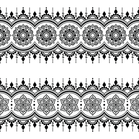 Indian Seamless Pattern Design Elements Mehndi Tattoo Style