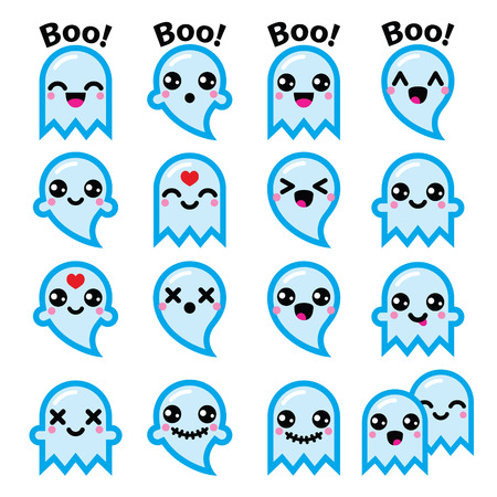 Kawaii niedlicher Geist für Halloween blaue Symbole Set Standard-Bild - 45929530