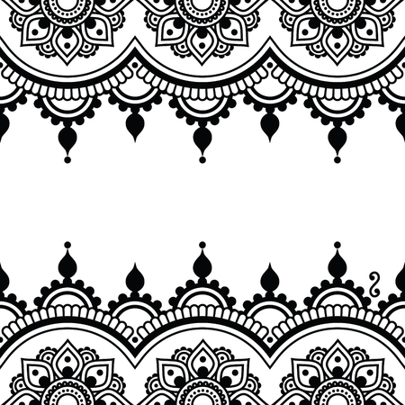 vector ornaments: Mehndi, Indian Henna tattoo design - greetings card, lace ornament