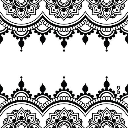 bordados: Mehndi, indio de la alheña del tatuaje de diseño - tarjeta de saludos, ornamento de encaje Vectores