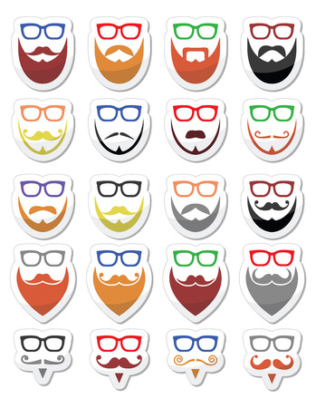 short: Beard and glasses, hipster icons set