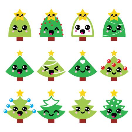 Cute Kawaii Christmas green tree with star vector icons set