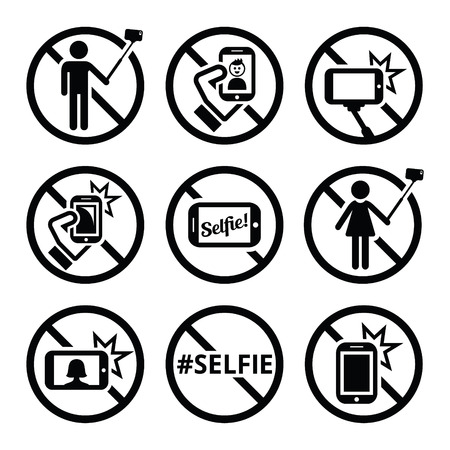 do not touch: No selfies, no selfie sticks vector signs