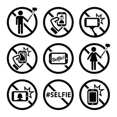 touch: No selfies, no selfie sticks vector signs