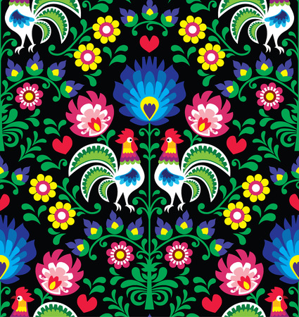 embroidery on fabric: Seamless Polish folk art pattern with roosters - Wzory Lowickie, Wycinanka