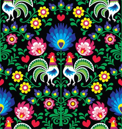 folk: Seamless Polish folk art pattern with roosters - Wzory Lowickie, Wycinanka
