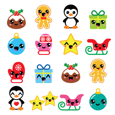 Christmas Kawaii icons - Christmas pudding, penguin, gingerbread man Çizim
