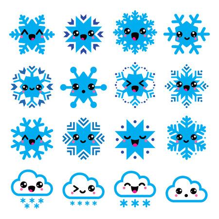 copo de nieve: Los copos de nieve de Kawaii, nubes con nieve - la Navidad, Iconos de invierno Vectores
