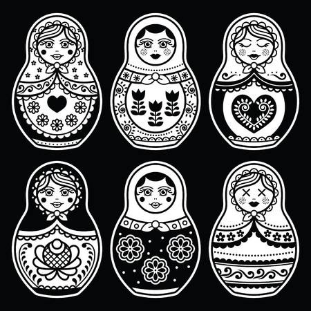 matryoshka: Matryoshka, Russian doll white icons set on black