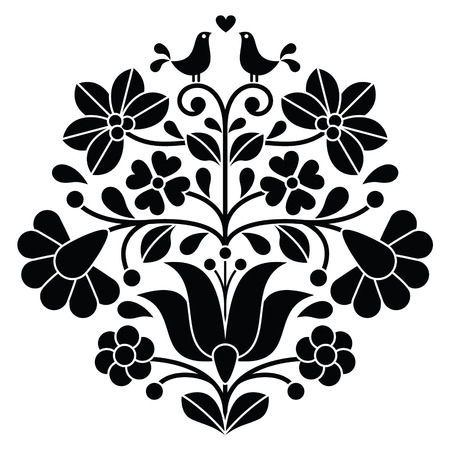 Kalocsai black embroidery - Hungarian floral folk pattern with birds