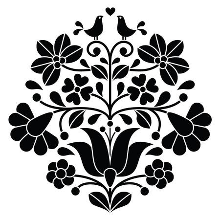 broderie: Kalocsai broderies noir - motif floral folklorique hongroise avec des oiseaux