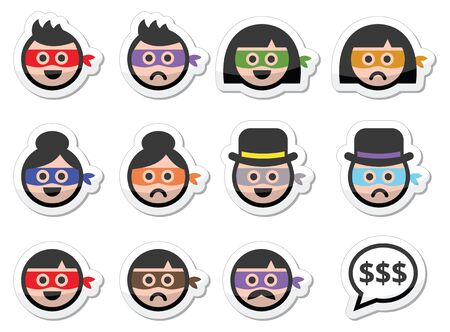 dodgy: Thief man and woman faces in masks icons set