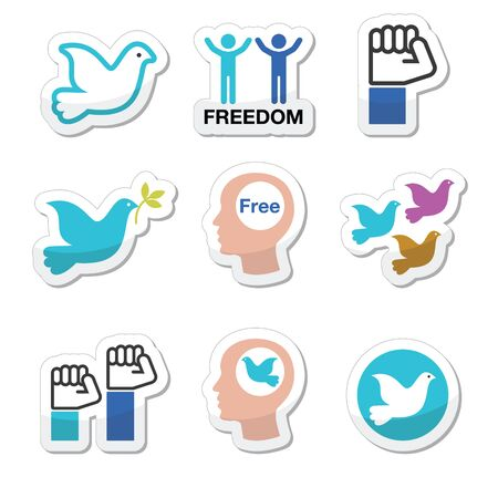 openness: Freedom icons set - dove and fist symbols
