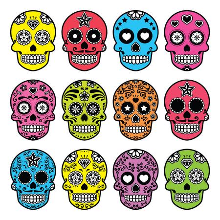 tete de mort: Crâne de sucre Halloween mexicain, icônes Dia de los Muertos réglé Illustration