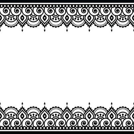 Mehndi, Indian Henna tattoo design - greetings card, lace ornament