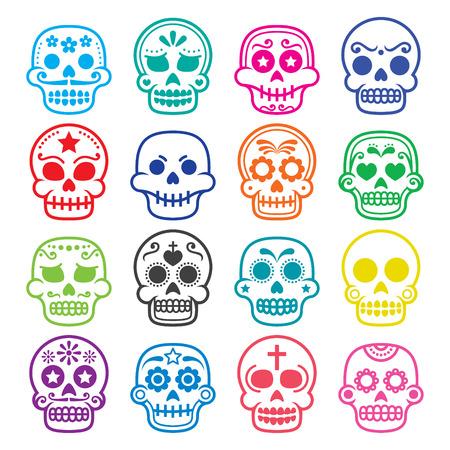 muertos: Halloween, Mexican sugar skull, Dia de los Muertos - cartoon icons Illustration