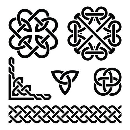 Celtic Irish knots, braids and patterns Vectores