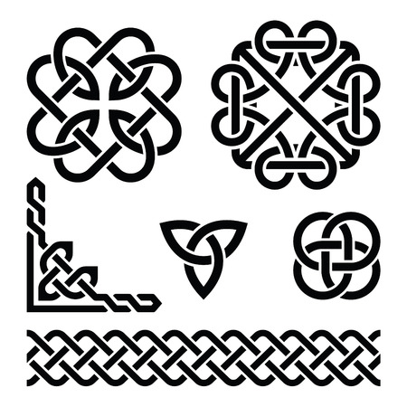 Celtic Irish knots, braids and patterns Stock Illustratie