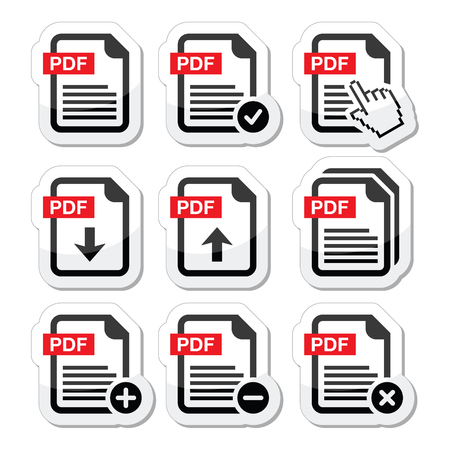 PDF download and upload icons set