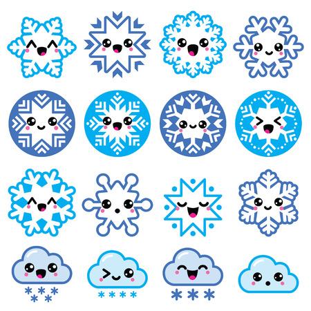 Resultado de imagen de copos de nieve con caritas kawaii